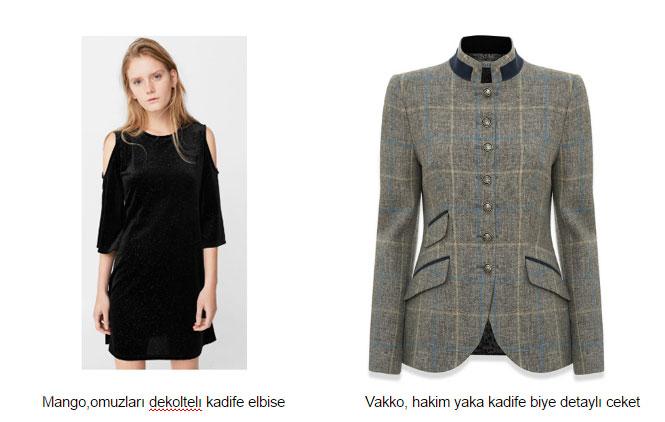 Mango,omuzları dekoltelı kadife elbise Vakko, hakim yaka kadife biye detaylı ceket