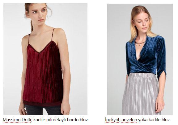 Massimo Dutti, kadife pili detaylı bordo bluz. İpekyol, anvelop yaka kadife bluz.
